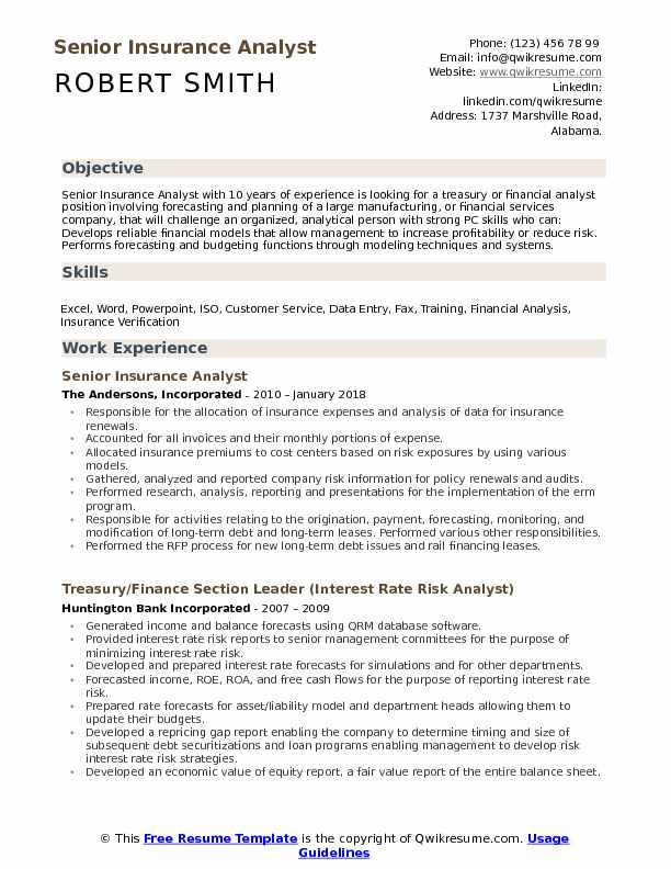 Senior Insurance Analyst Resume Sample