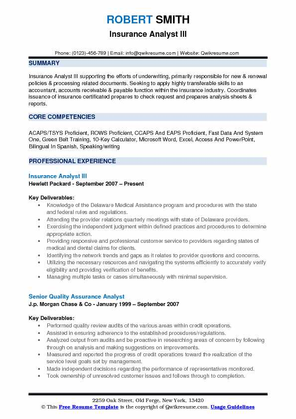 Insurance Analyst III Resume Format