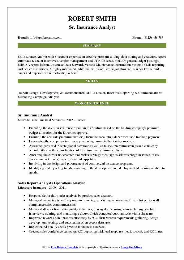 Sr. Insurance Analyst Resume Example