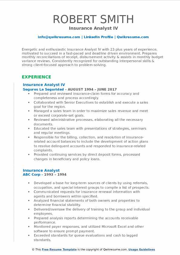 Insurance Analyst IV Resume Template