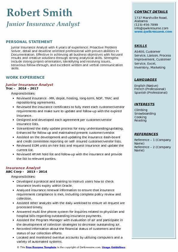 Junior Insurance Analyst Resume Example