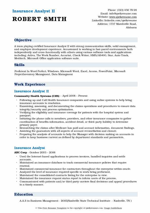 Insurance Analyst II Resume Template