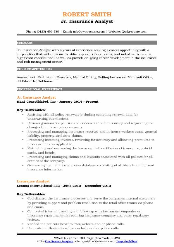 Jr. Insurance Analyst Resume Template