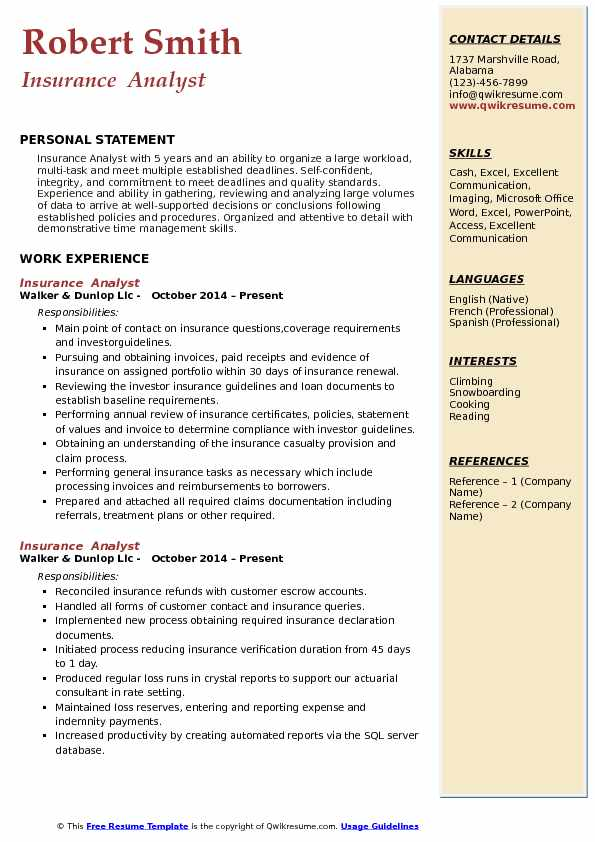 Insurance  Analyst  Resume Format