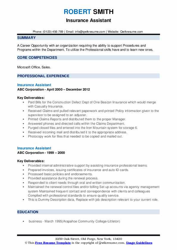 Insurance Assistant Resume example