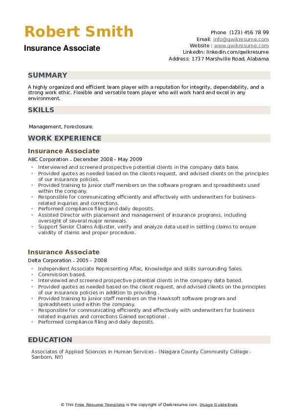 Insurance Associate Resume example