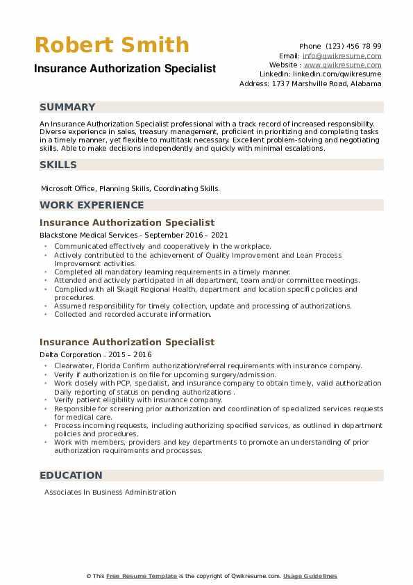 Insurance Authorization Specialist Resume example