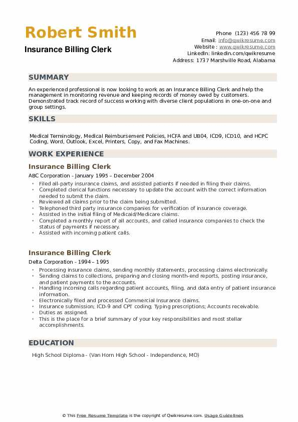 Insurance Billing Clerk Resume example