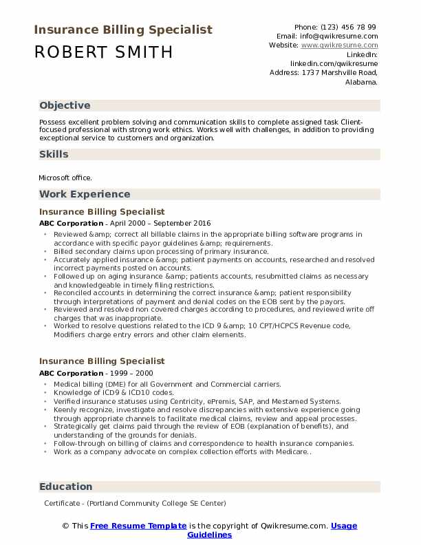 Insurance Billing Specialist Resume Sample