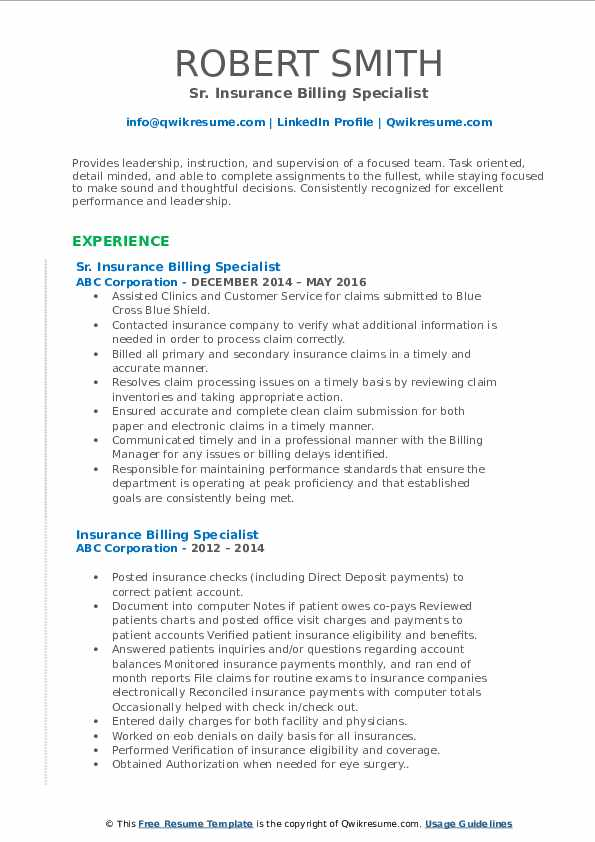 Sr. Insurance Billing Specialist Resume Sample