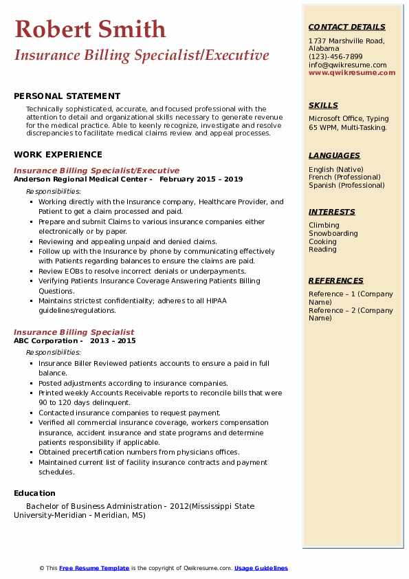 Insurance Billing Specialist/Executive Resume Model