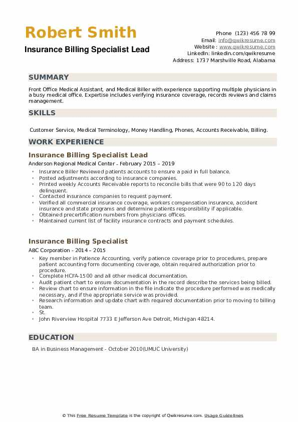Insurance Billing Specialist Lead Resume Template