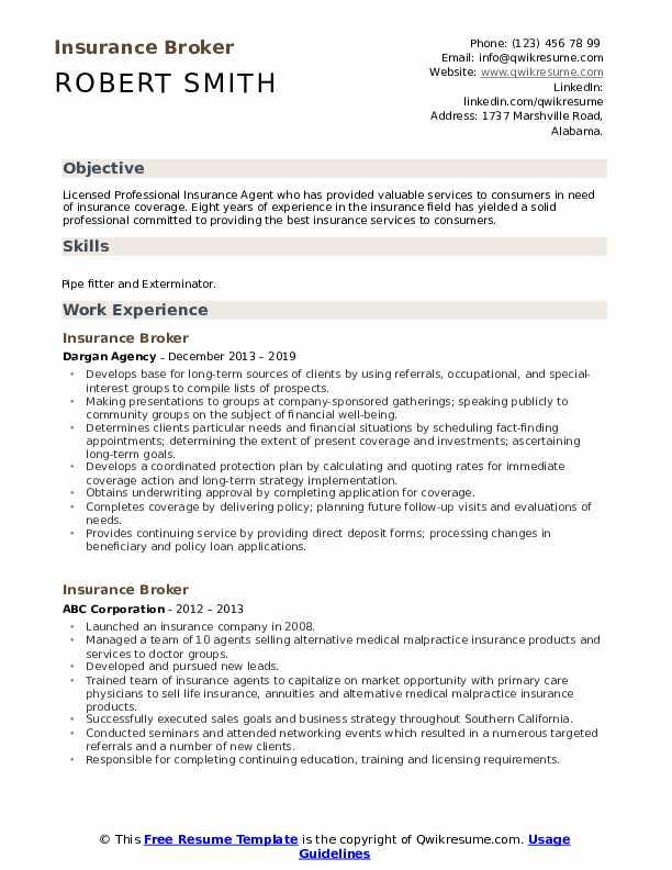 Insurance Broker Resume Template