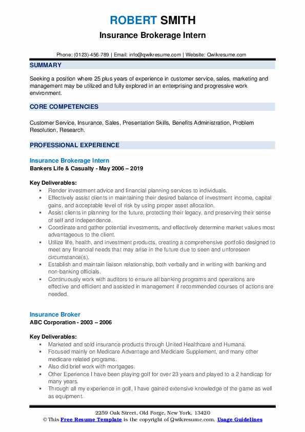 Insurance Brokerage Intern Resume Model