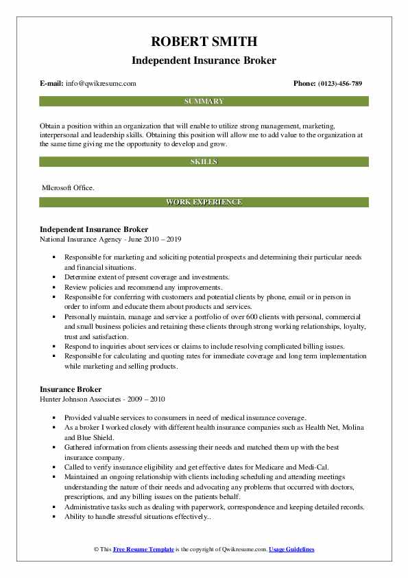Insurance Broker Resume Samples | QwikResume