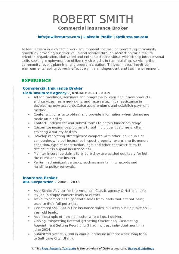 Commercial Insurance Broker Resume Sample
