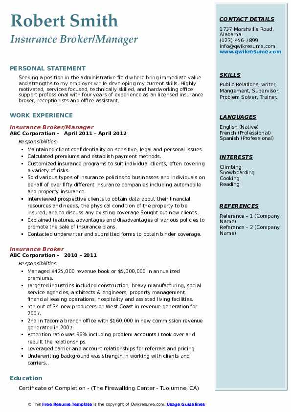 Insurance Broker/Manager Resume Format