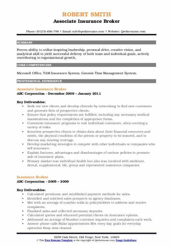 Associate Insurance Broker Resume Model