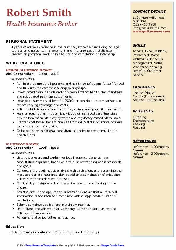 Health Insurance Broker Resume Template