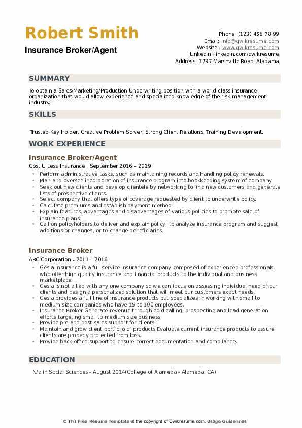 Insurance Broker/Agent Resume Format