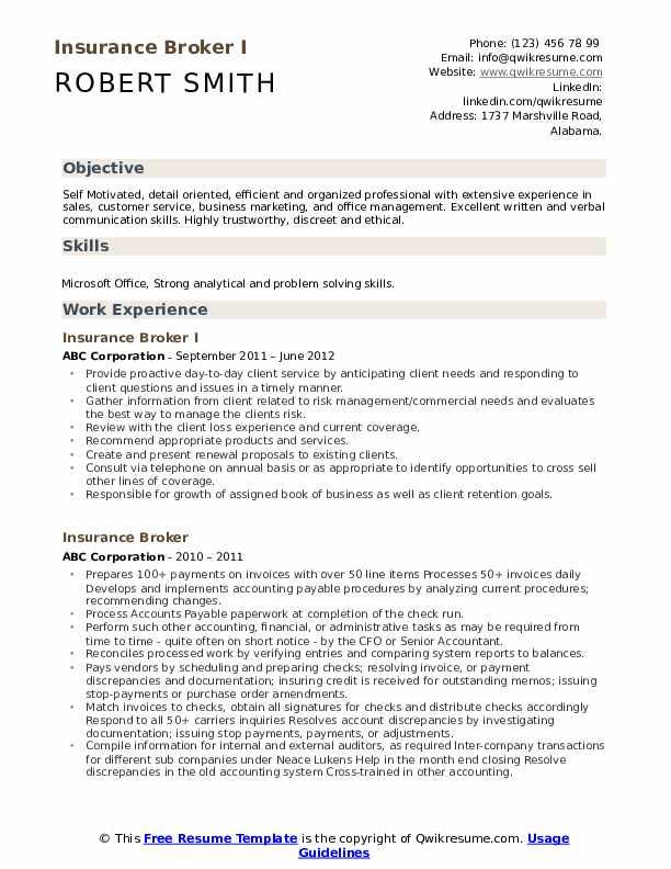 Insurance Broker I Resume Format