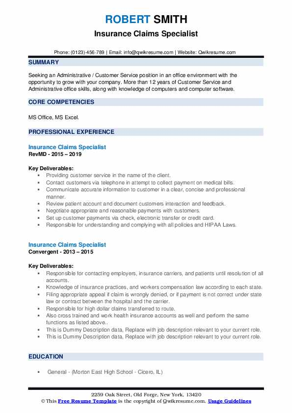 Insurance Claims Specialist Resume example
