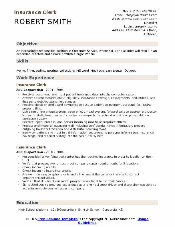 Insurance Clerk Resume Sample