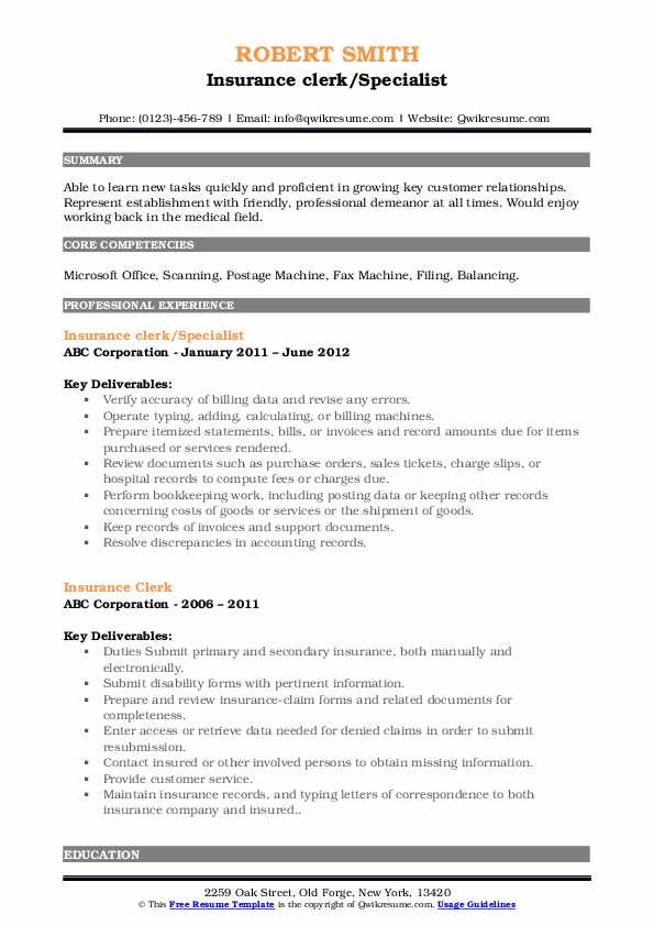Insurance clerk/Specialist Resume Format