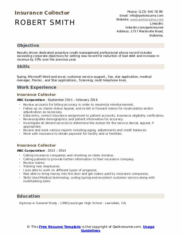 insurance collector resume samples  qwikresume