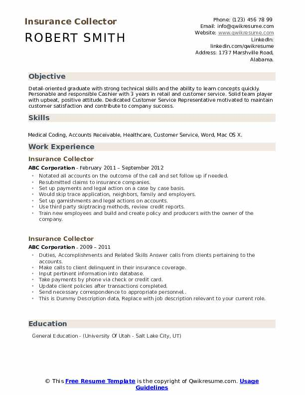 Insurance Collector Resume example