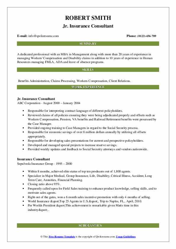 insurance consultant resume samples