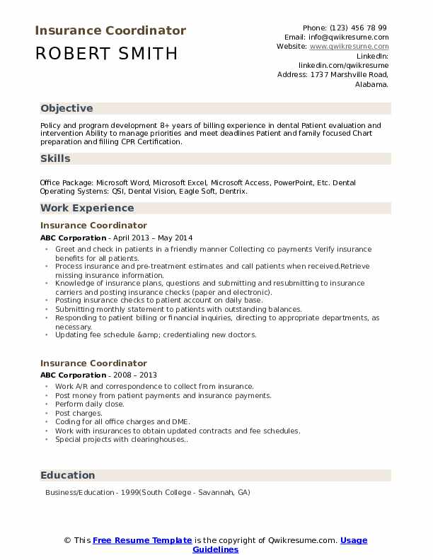 Insurance Coordinator Resume Model