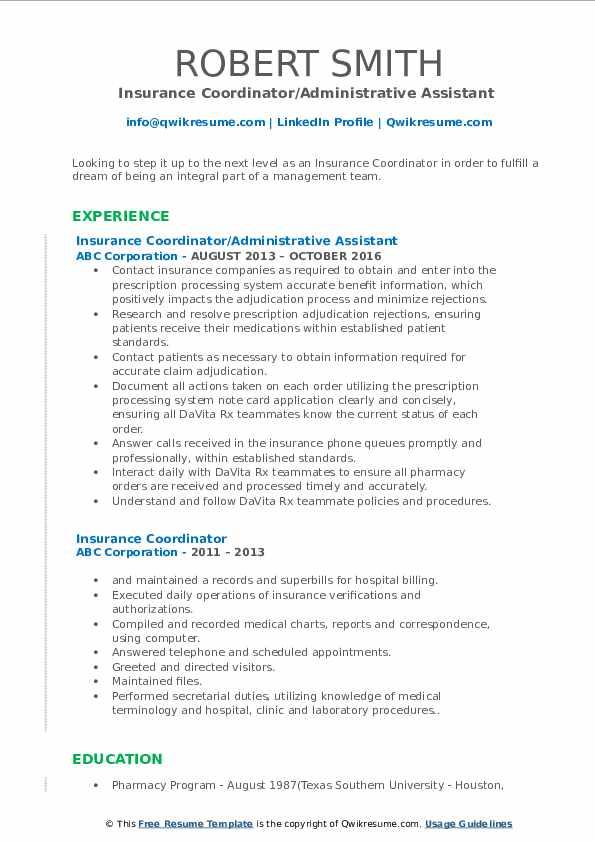 Insurance Coordinator/Administrative Assistant  Resume Format