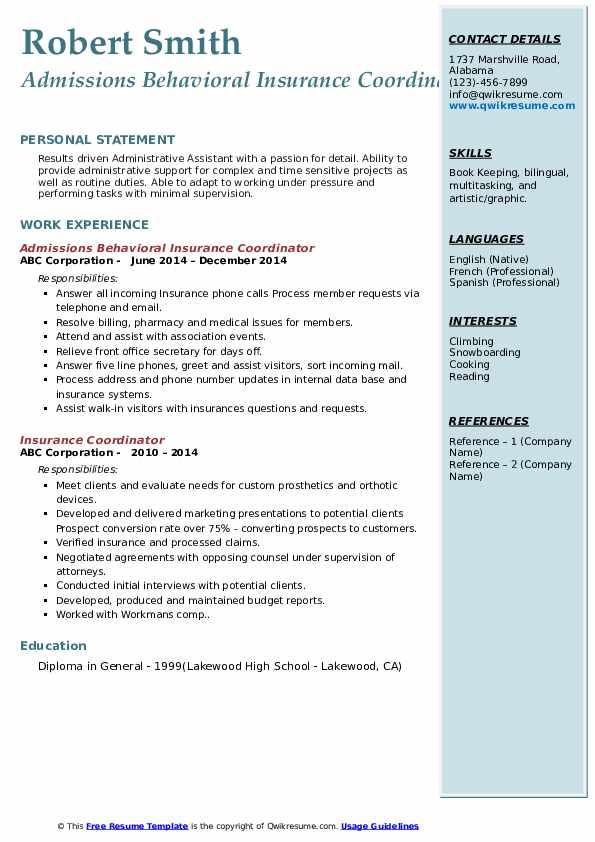 Admissions Behavioral Insurance Coordinator Resume Sample