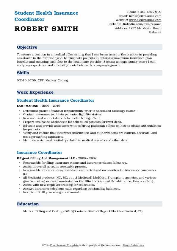 Student Health Insurance Coordinator Resume Model
