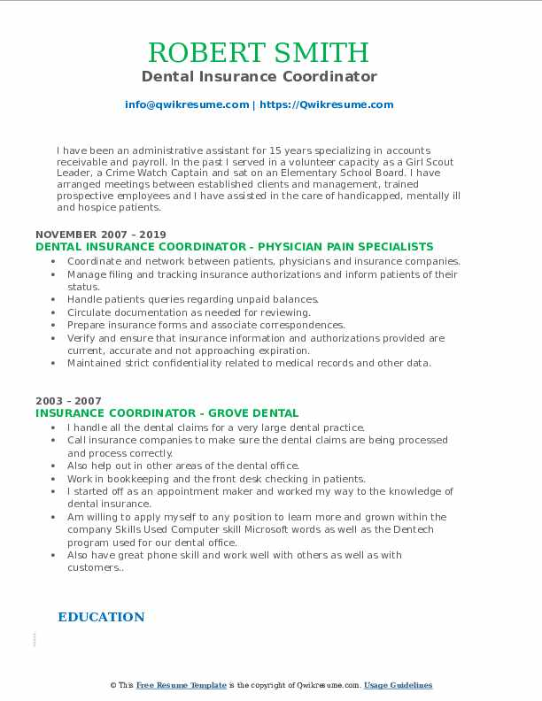 Dental Insurance Coordinator Resume Example