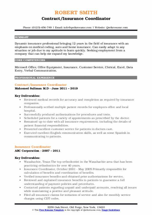 Insurance Coordinator Resume Samples Qwikresume