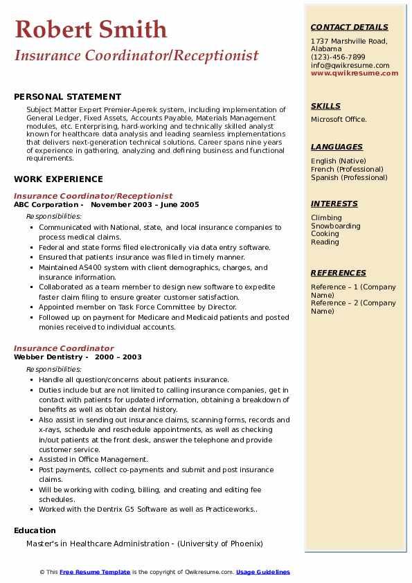 Insurance Coordinator/Receptionist Resume Sample