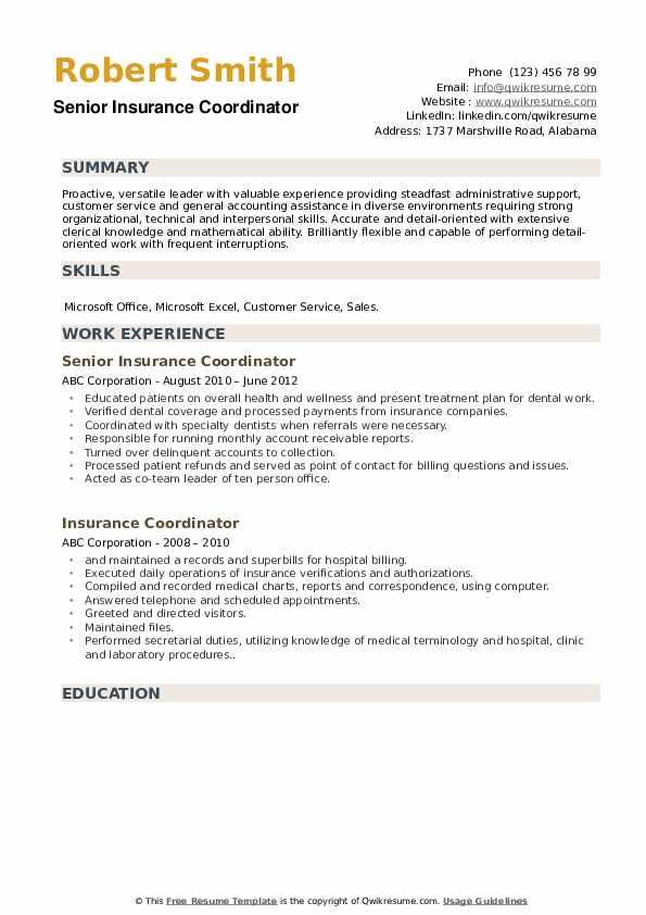 Senior Insurance Coordinator Resume Model