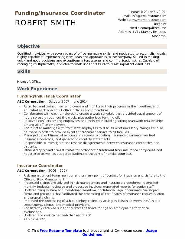 Funding/Insurance Coordinator Resume Example