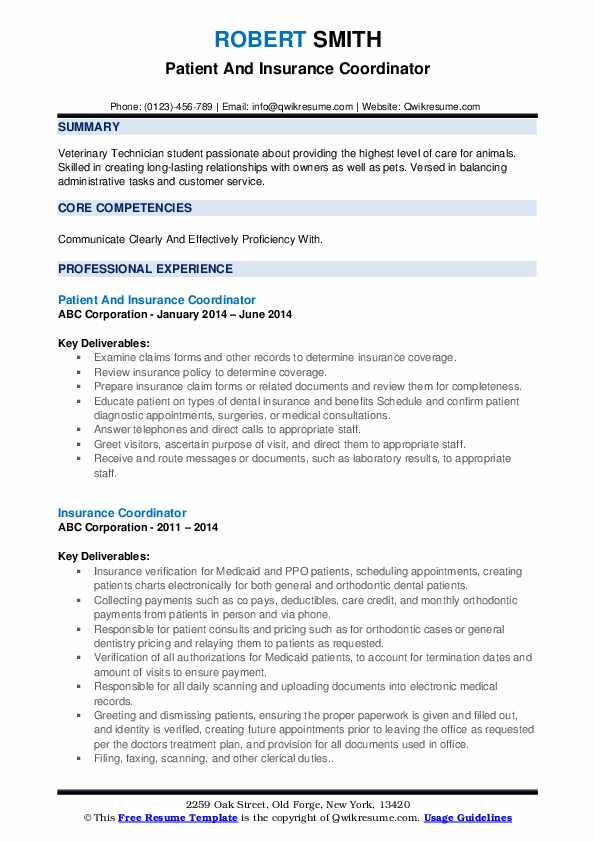 Patient And Insurance Coordinator Resume Template