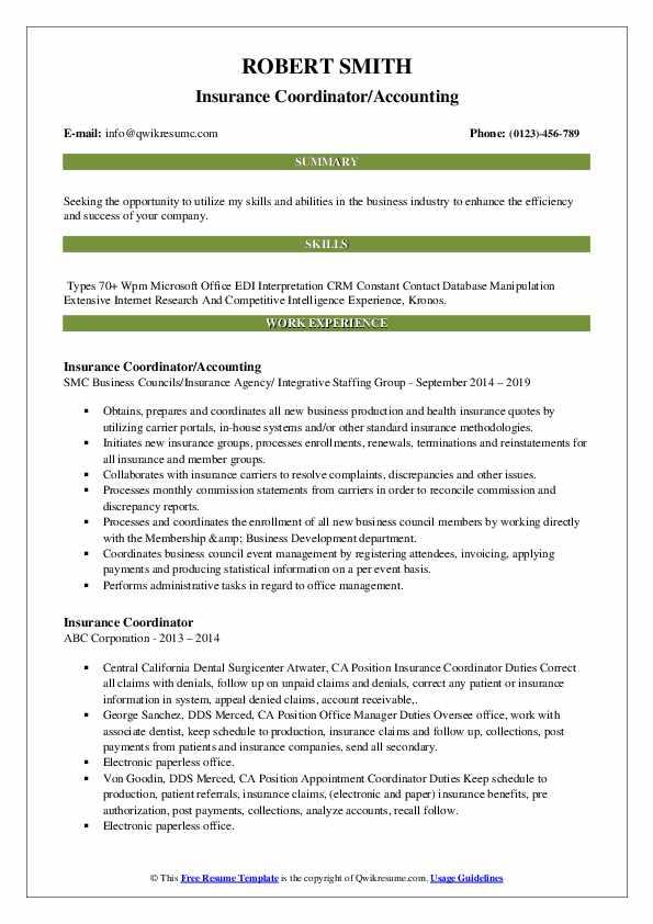 Insurance Coordinator/Accounting Resume Format