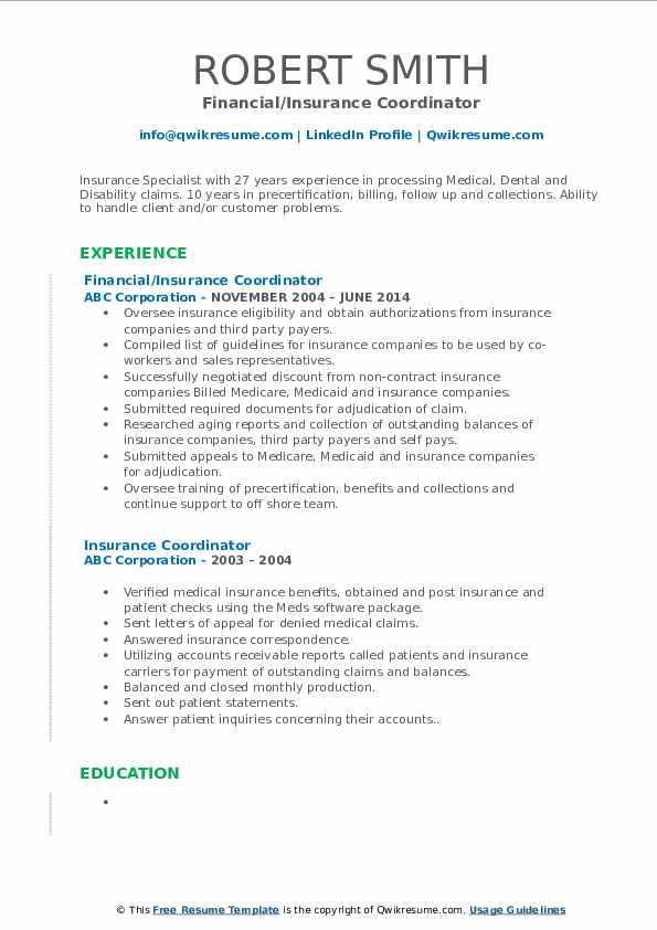 Financial/Insurance Coordinator Resume Template