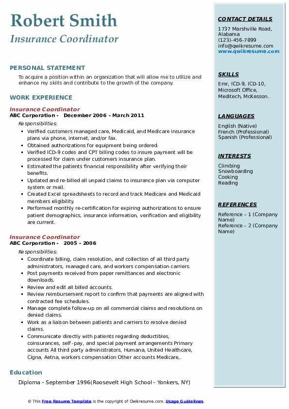 Insurance Coordinator Resume example