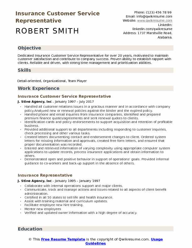 Attractive Insurance Customer Service Representative Resume Sample