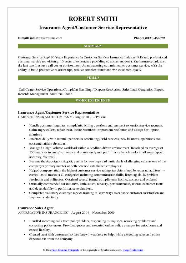 Insurance Agent/Customer Service Representative Resume Format