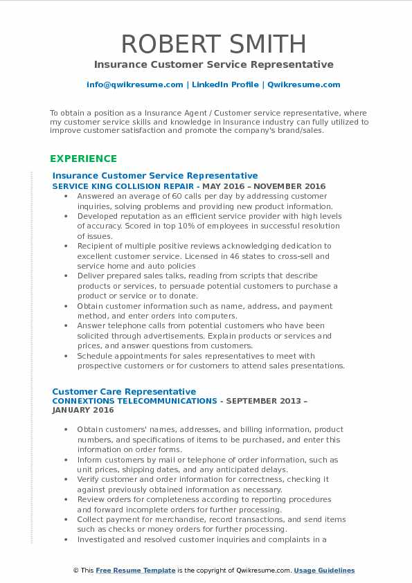 Insurance Customer Service Representative Resume Template