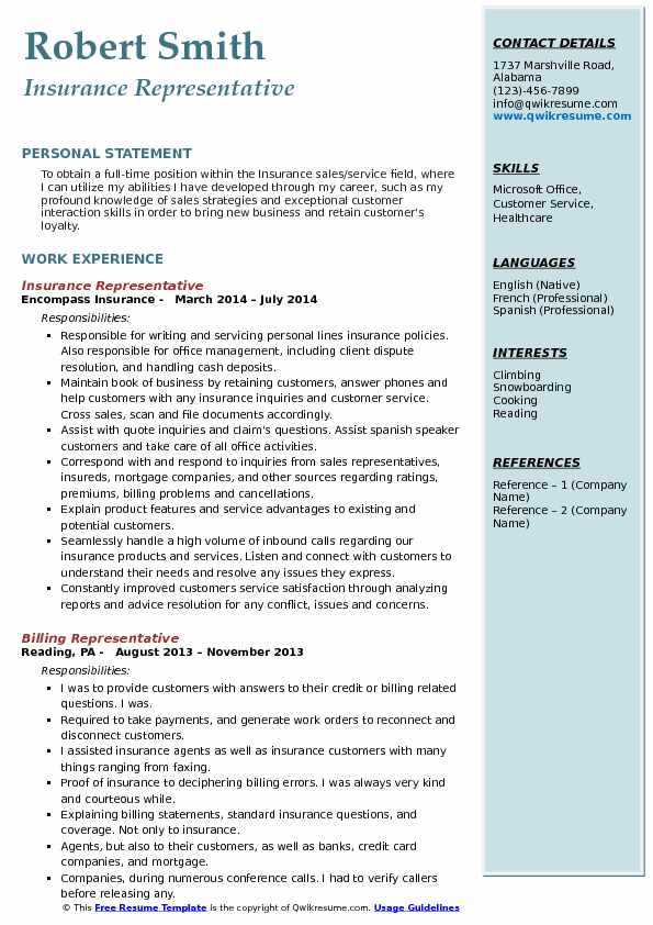 Insurance Representative Resume Sample