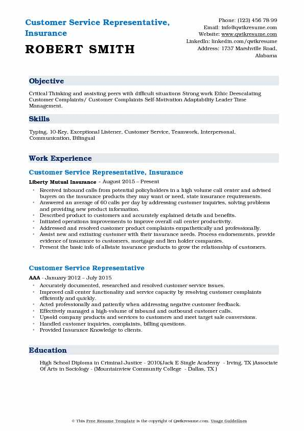 Customer Service Representative, Insurance Resume Format