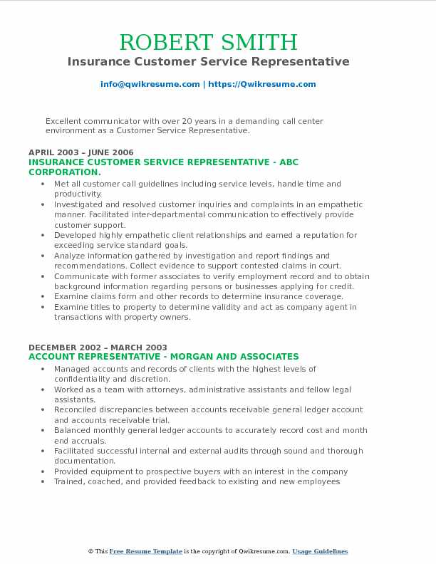 Insurance Customer Service Representative Resume Format